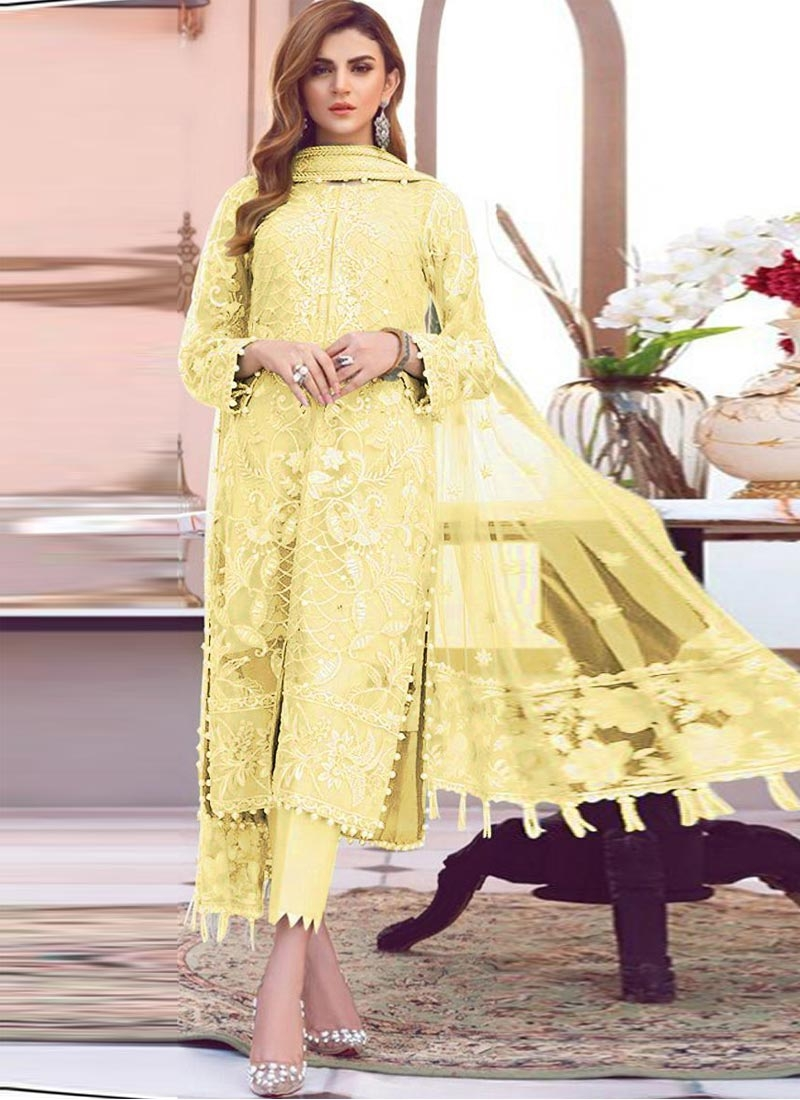 Net Embroidered Work Pant Style Classic Salwar Suit