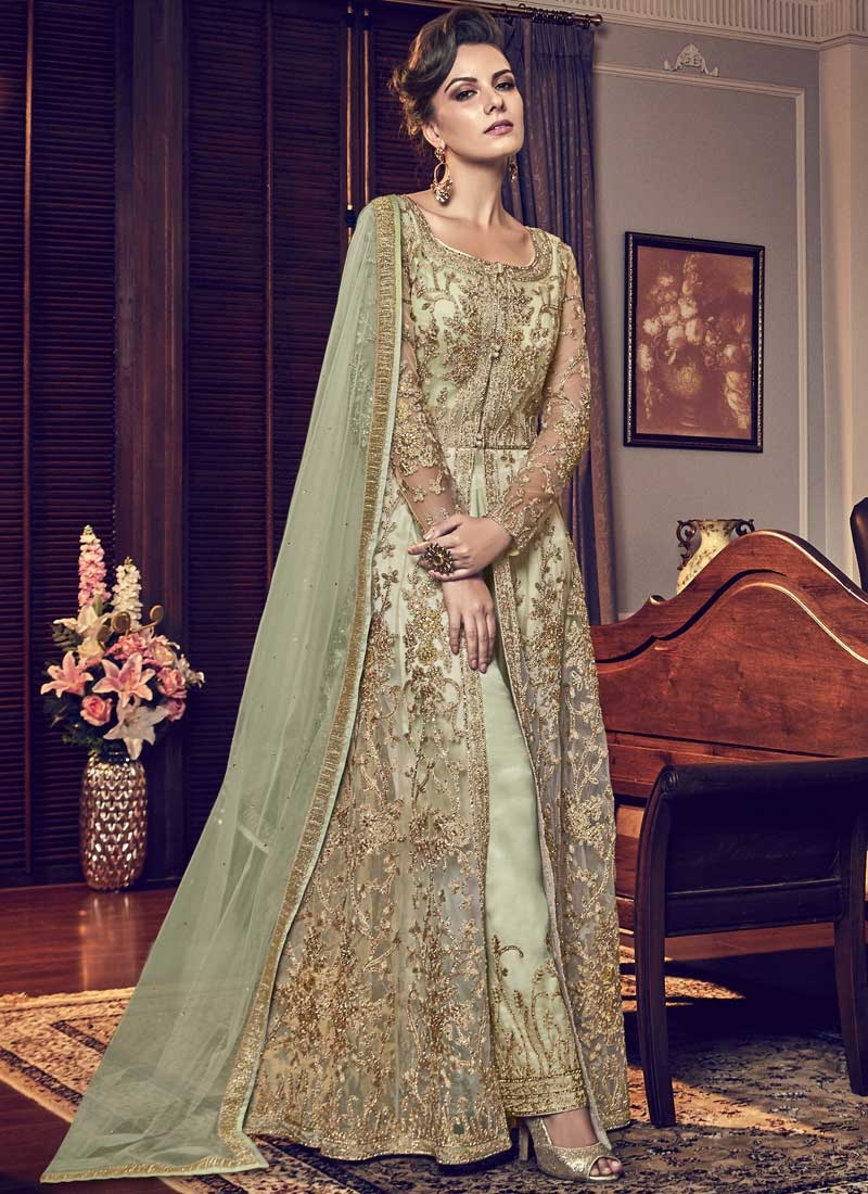 Net Embroidered Work Pant Style Designer Suit