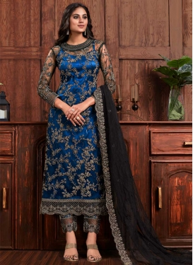 Net Embroidered Work Pant Style Pakistani Salwar Kameez