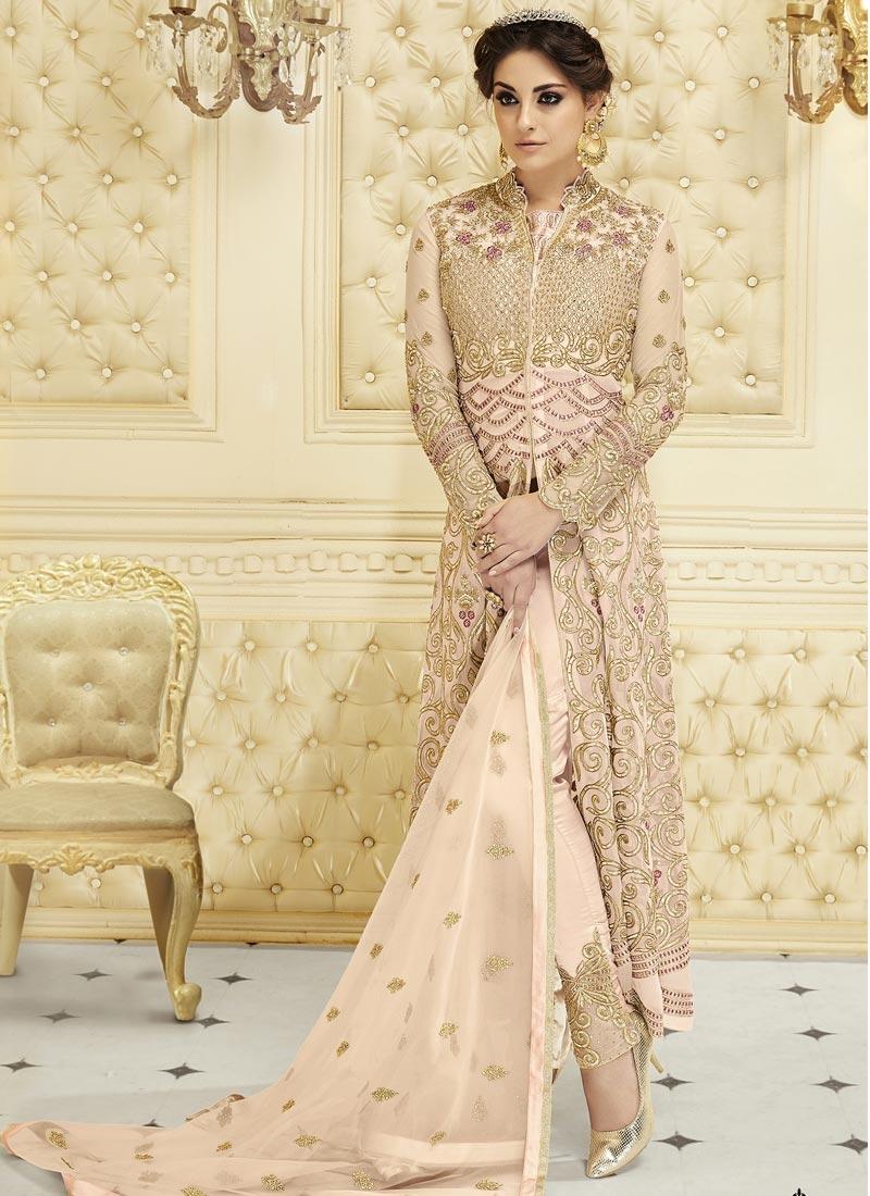 Net Embroidered Work Pant Style Salwar Kameez