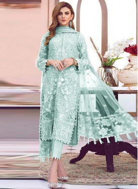 Net Embroidered Work Pant Style Salwar Suit