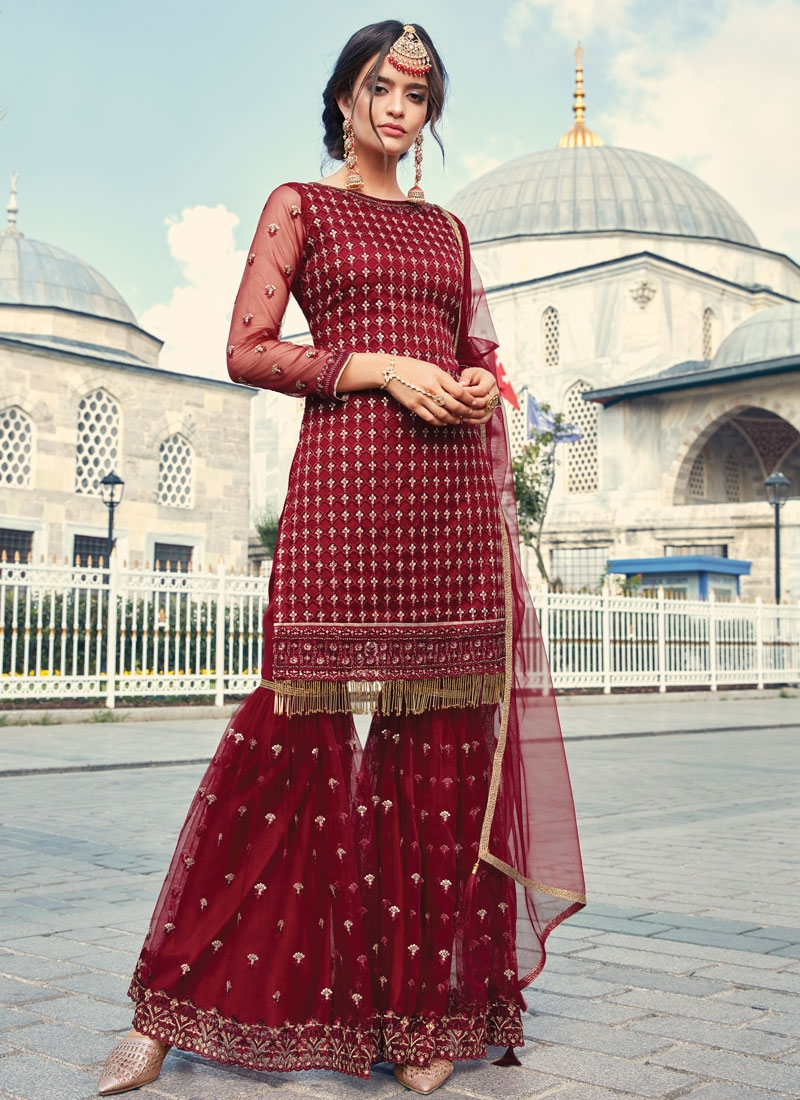 Net Embroidered Work Sharara Salwar Kameez