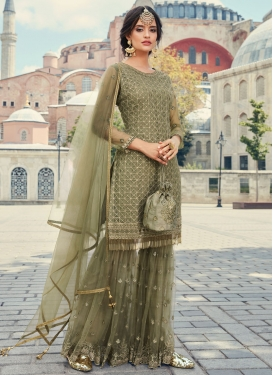 Net Embroidered Work Sharara Salwar Suit