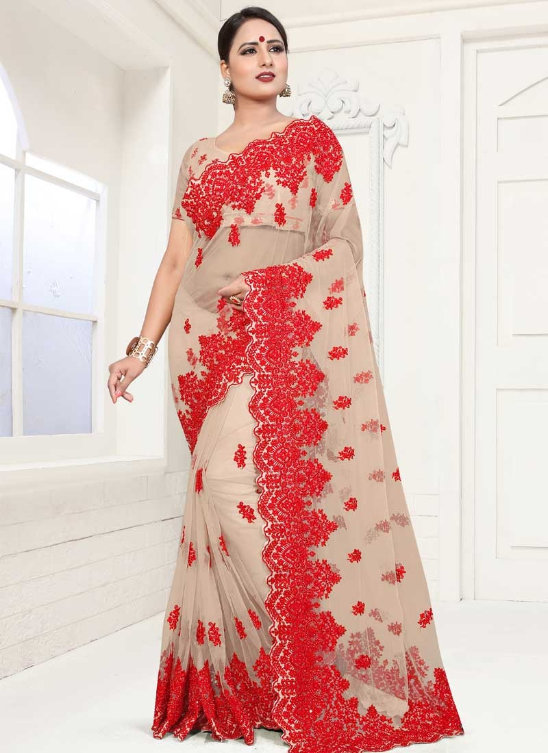 Net Embroidered Work Traditional Designer Saree