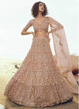 Net Embroidered Work Trendy A Line Lehenga Choli