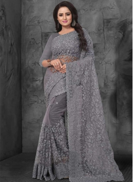 Net Embroidered Work Trendy Classic Saree