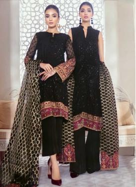 Net Embroidered Work Trendy Straight Salwar Kameez