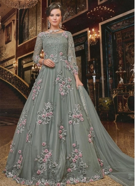 Net Floor Length Designer Salwar Suit For Festival