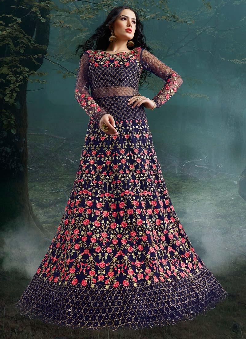 Net Floor Length Designer Suit For Bridal