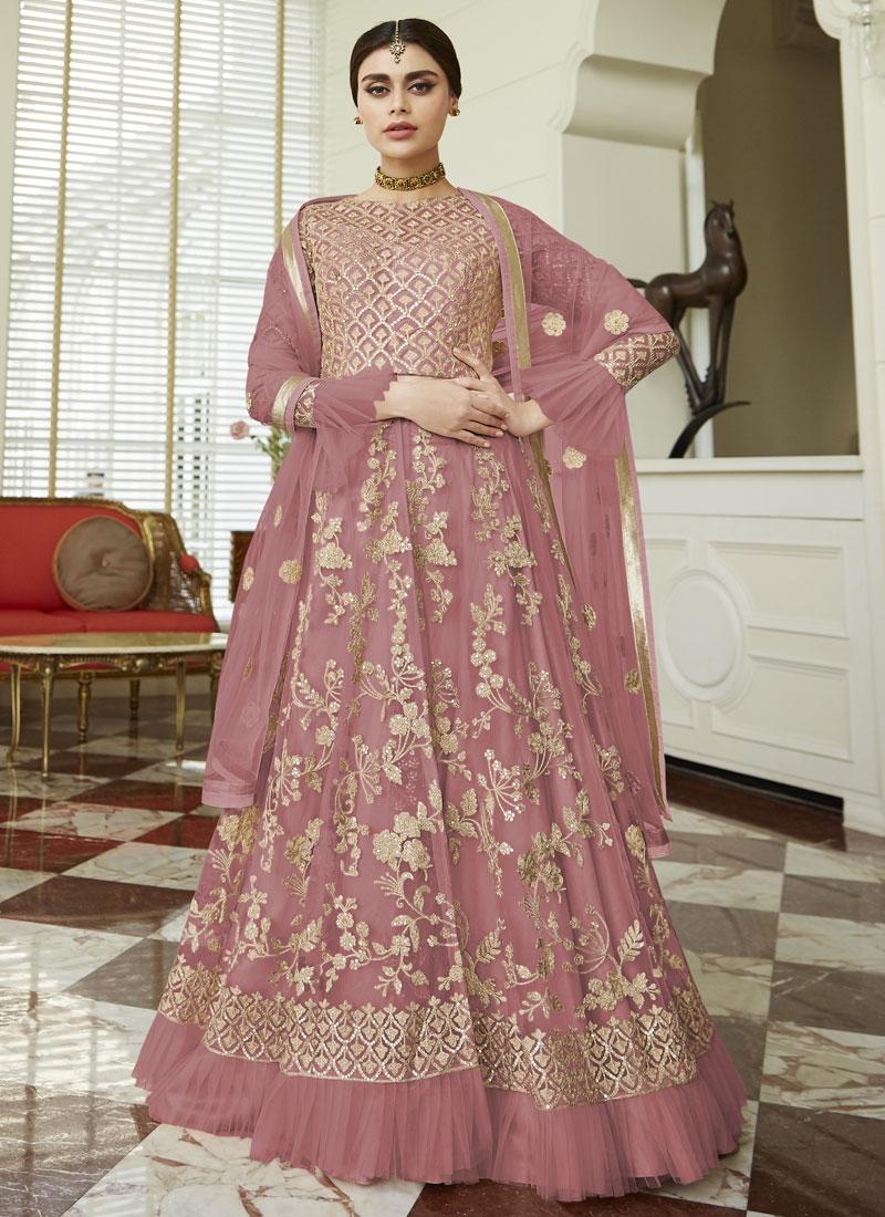 Net Floor Length Designer Suit For Ceremonial