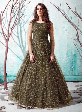 Net Foil Print Work Floor Length Trendy Gown