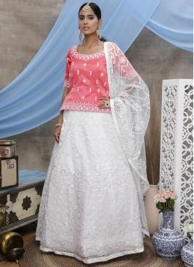 Net Hot Pink and White Embroidered Work Long Choli Lehenga