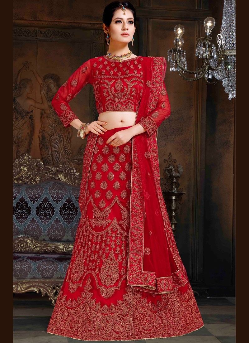 Net Lace Red Lehenga Choli