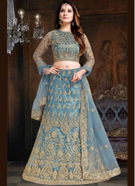 Net Lehenga Choli in Light Blue