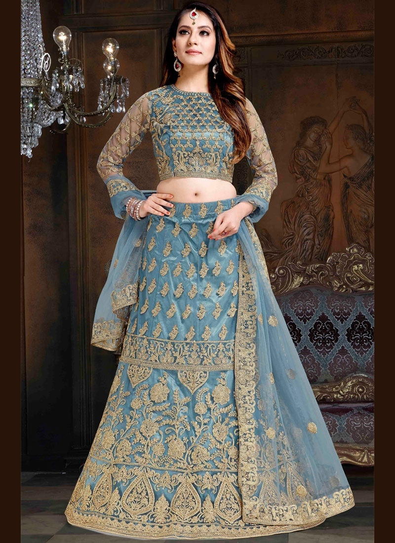 Net Lehenga Choli in Light Blue
