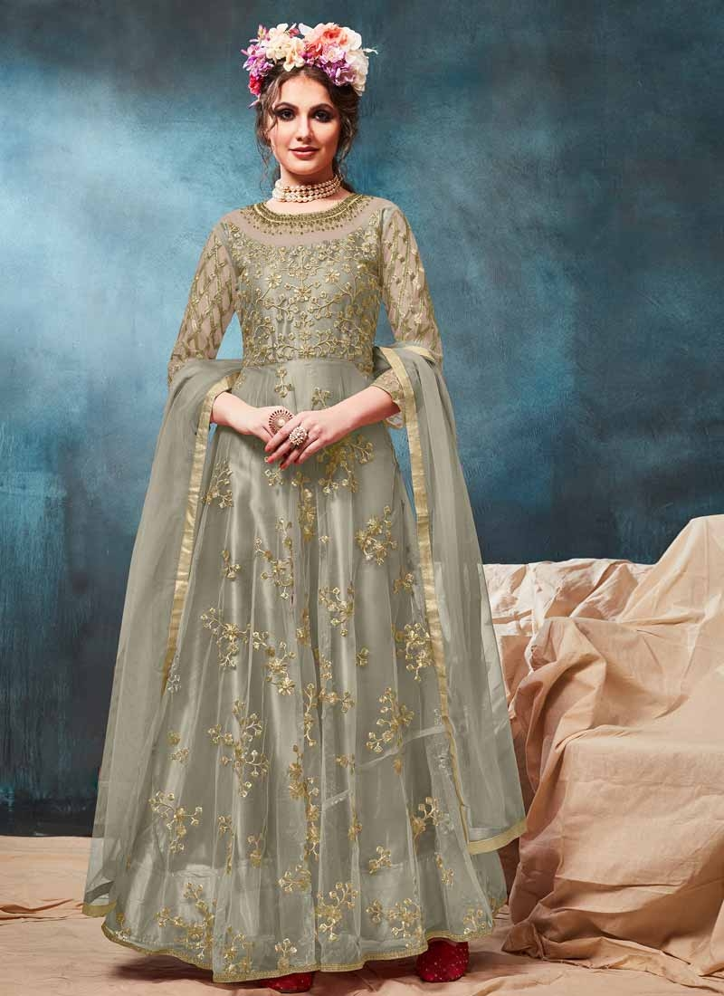 Net Long Length Anarkali Suit For Ceremonial