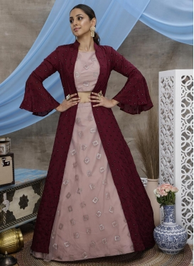 Net Maroon and Salmon Jacket Style Lehenga Choli
