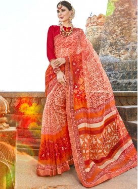 Net Multi Colour Printed Saree