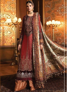 Net Orange and Red Embroidered Work Palazzo Style Pakistani Salwar Suit