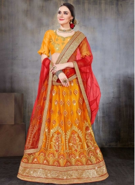 Net Orange and Red Trendy Lehenga