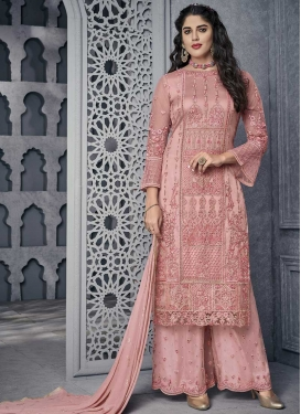 Net Palazzo Style Pakistani Salwar Kameez For Ceremonial