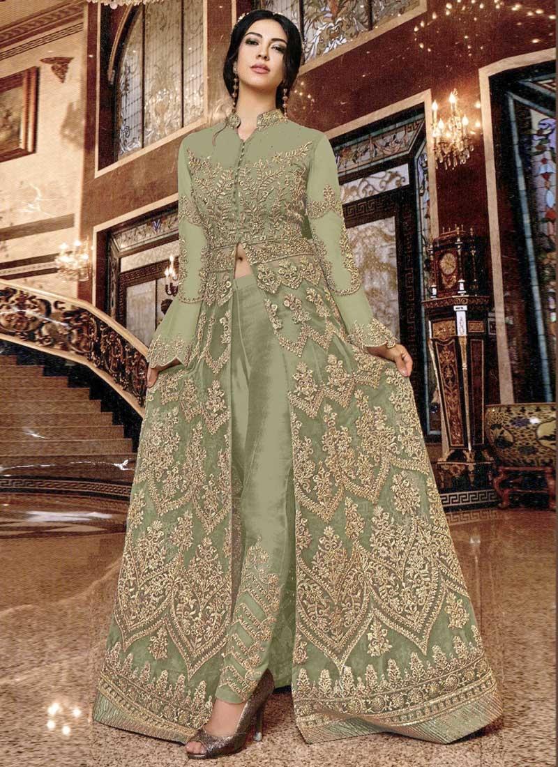 Net Pant Style Designer Salwar Kameez For Ceremonial