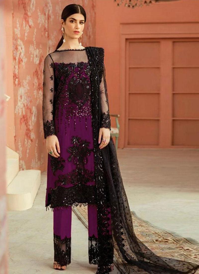 Net Pant Style Pakistani Salwar Kameez For Ceremonial
