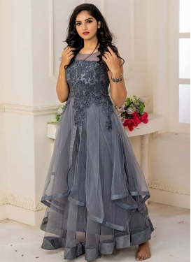 Net Readymade Long Length Gown For Ceremonial