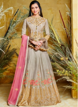 Net Resham Floor Length Anarkali Suit in Silver