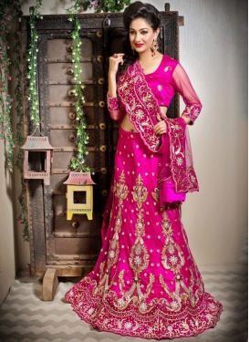 Net Resham Trendy Lehenga Choli in Rose Pink