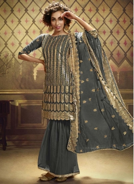 Net Sharara Salwar Kameez For Ceremonial