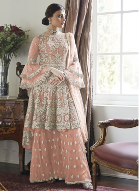 Net Sharara Salwar Suit For Ceremonial