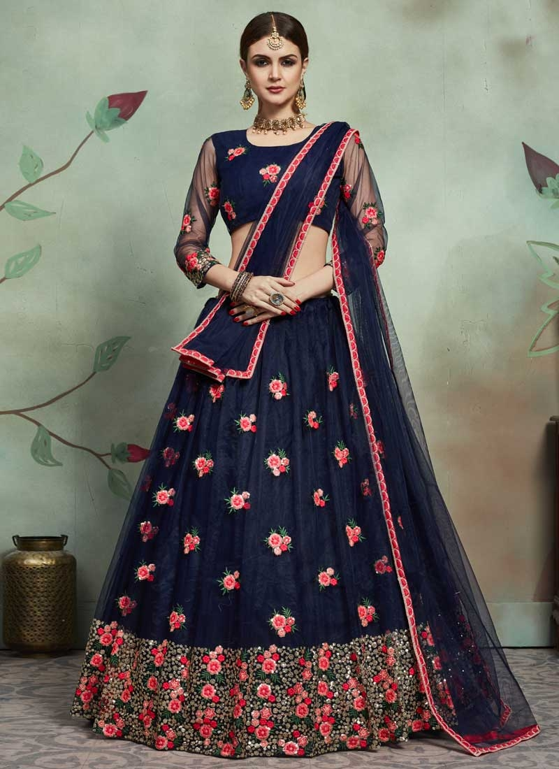 Net Trendy A Line Lehenga Choli For Ceremonial