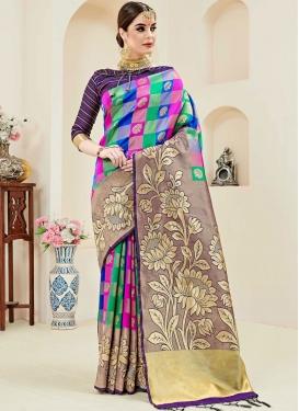 Nice Art Silk Multi Colour Weaving Designer Traditional Saree
