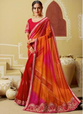 Nice Embroidered Multi Colour Printed Saree