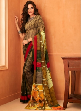 Nice Multi Colour Abstract Print Faux Georgette Printed Saree
