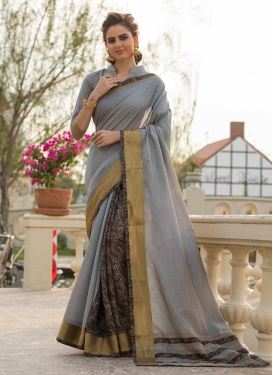 Nice Print Grey Traditional Saree