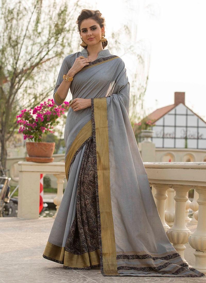 Nice Print Grey Traditional Saree