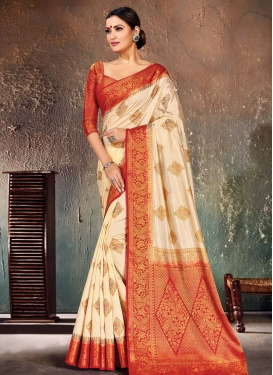 Nylon Silk Cream and Red Trendy Classic Saree