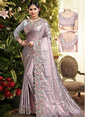 Nylon Silk Grey and Pink Embroidered Work Designer Contemporary Style Saree