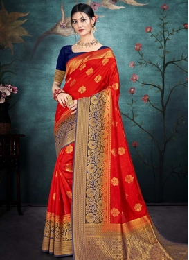 Nylon Silk Navy Blue and Red Trendy Classic Saree For Casual