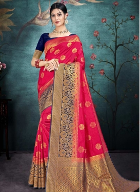 Nylon Silk Navy Blue and Rose Pink Woven Work Designer Contemporary Saree
