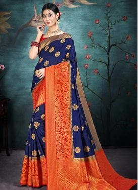Nylon Silk Navy Blue and Tomato Woven Work Designer Contemporary Style Saree