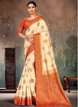 Nylon Silk Woven Work Cream and Orange Designer Contemporary Saree