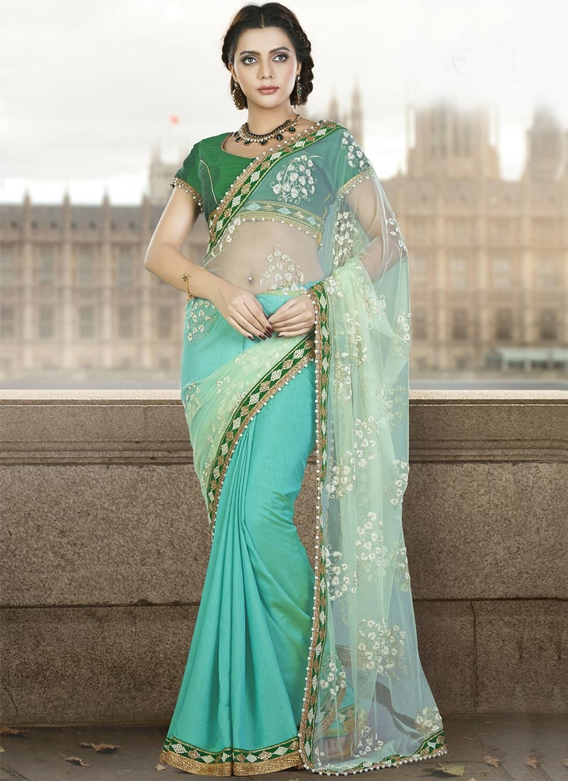 Observable Net Beads Work Half N Half Saree