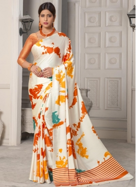 Off White and Orange Designer Contemporary Style Saree For Casual