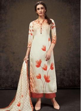 Off White and Orange Palazzo Style Pakistani Salwar Kameez For Ceremonial