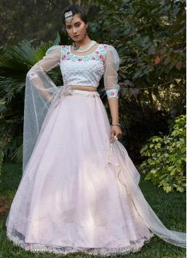 Off White and Pink  Net Designer Classic Lehenga Choli