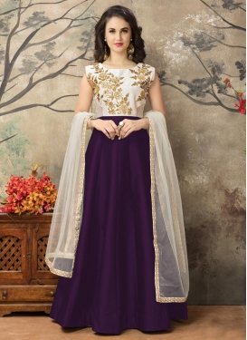 Off White and Purple Anarkali Salwar Kameez For Ceremonial