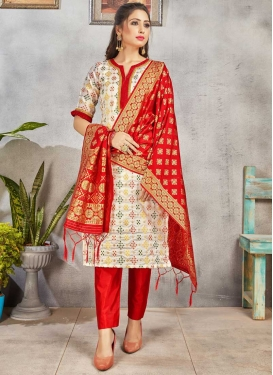 Off White and Red Art Silk Pant Style Straight Salwar Kameez
